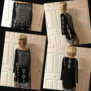 379 Style & Co Black Print Dress Size Medium